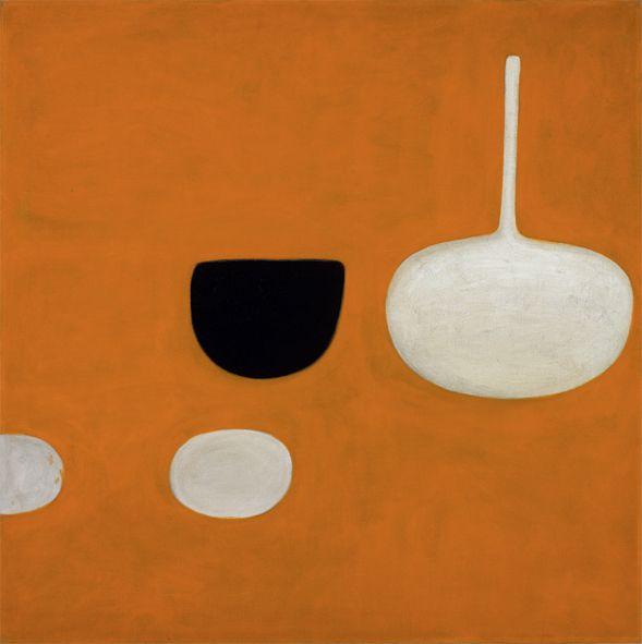 William Scott, Still Life on Orange, 1970, Oil on canvas, 100.6 × 101.1 cm / 39½ × 39¾ in, Private collection