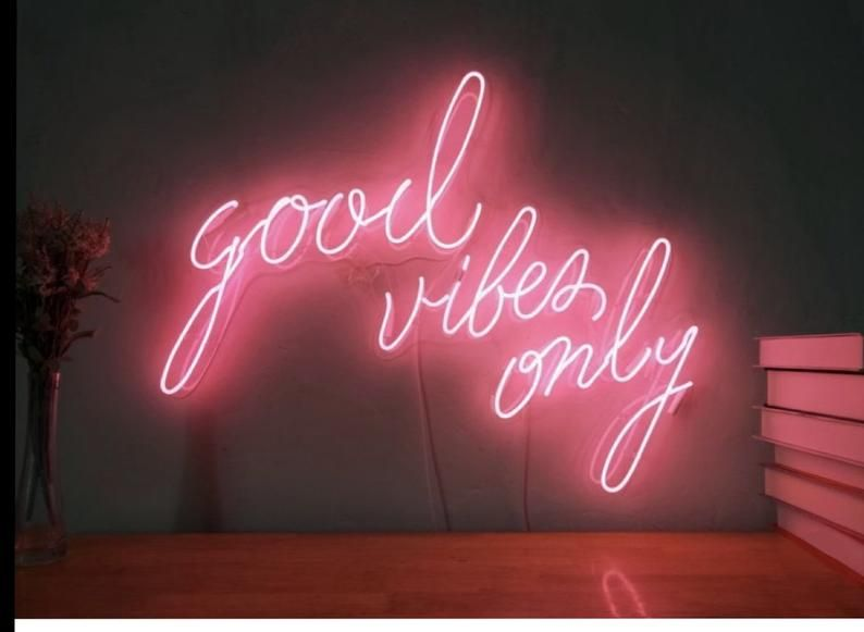 Good Vibes Only Custom Design Led Neon Signs Portable Wireless With Acrylic Base In 2021 Neon Sign Bedroom Neon Room Decor Neon Room