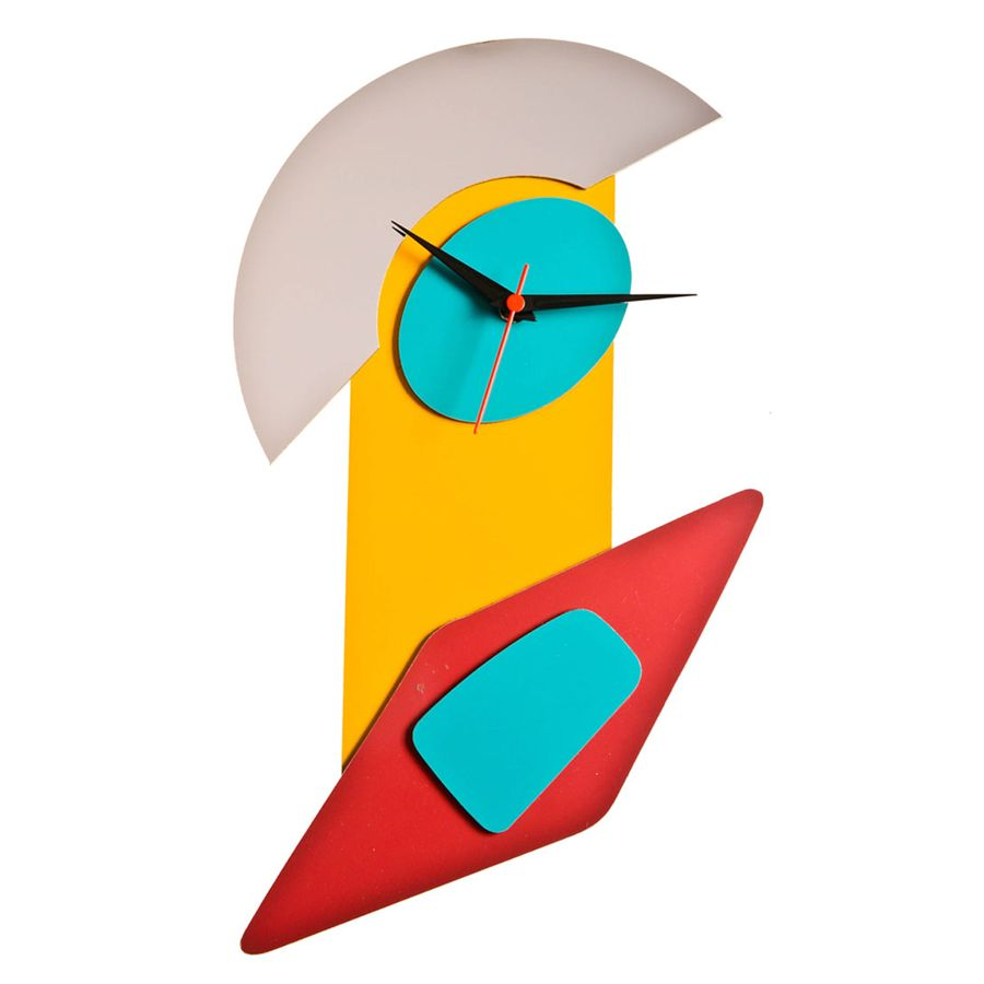 Funky Blue, Red and Orange Coloured Wall Clock. Grab this at an ...