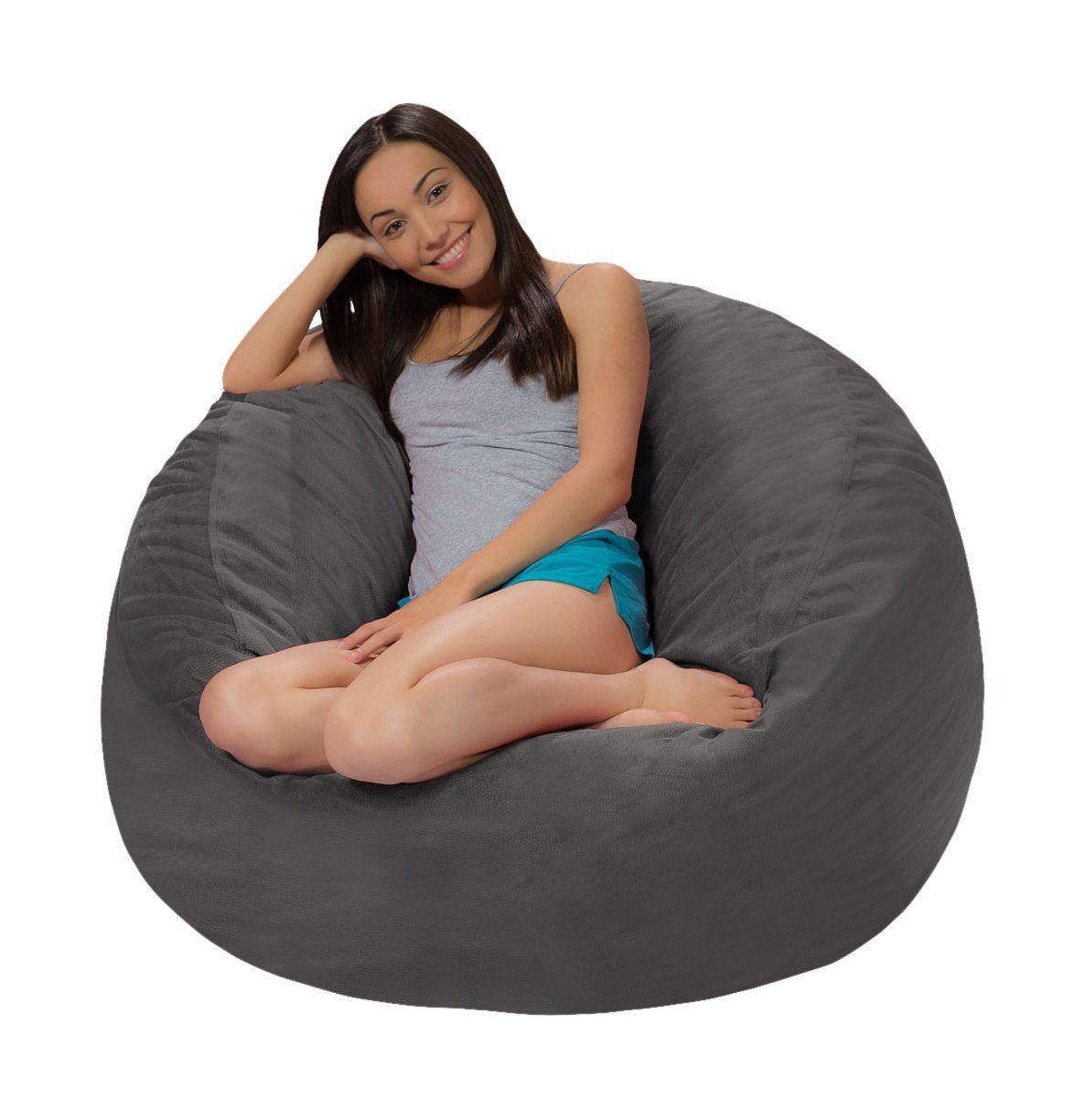 Admirable Comfy Sacks 4 Ft Memory Foam Bean Bag Chair Grey Pebble Andrewgaddart Wooden Chair Designs For Living Room Andrewgaddartcom