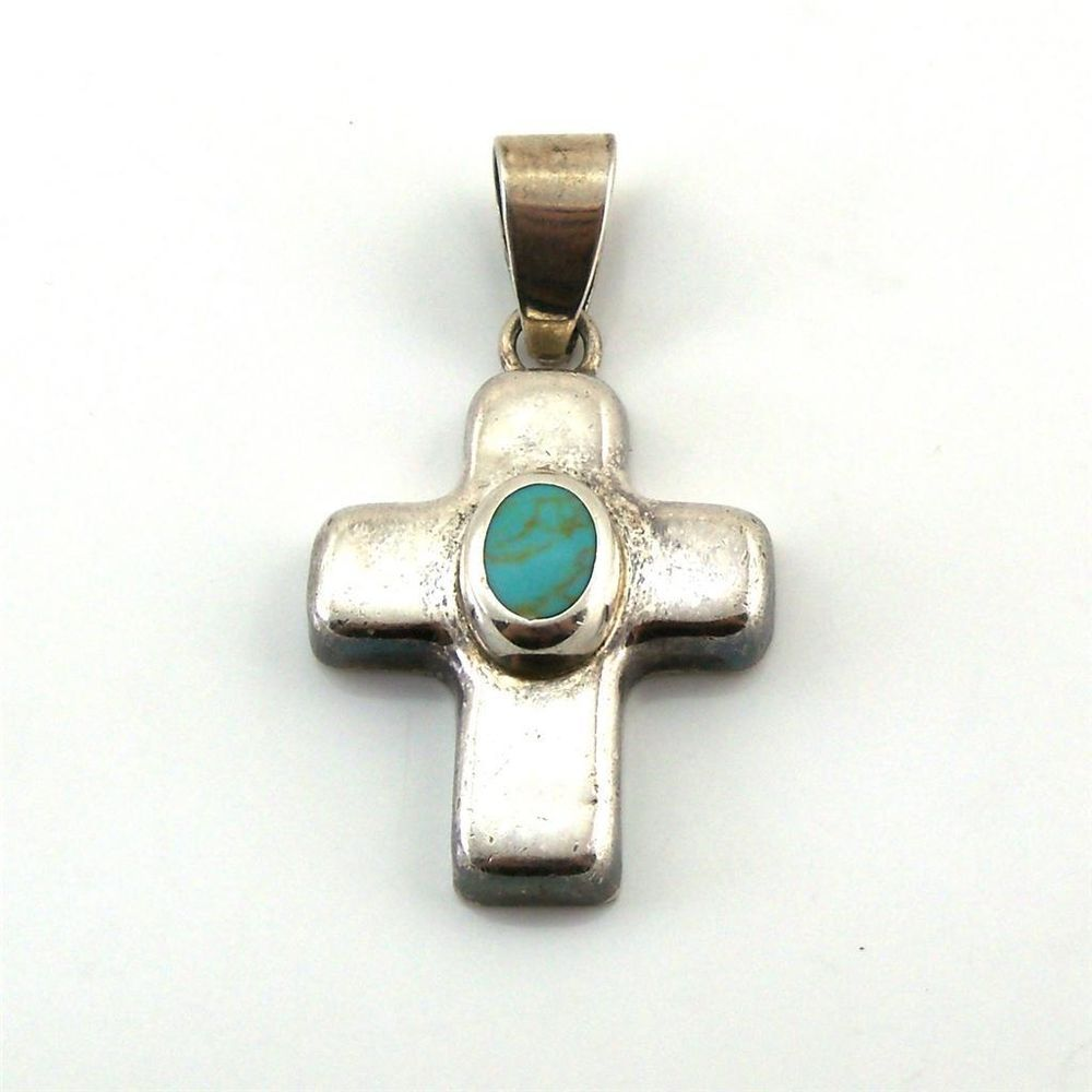 Sterling silver mexico puffy oval turquoise stone cross pendant 11g sterling silver mexico puffy oval turquoise stone cross pendant 11g pendant aloadofball Gallery