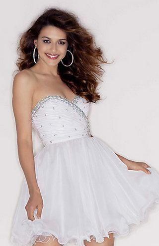 Embellished Short Sleeveless Sweetheart Basque White Evening Dresses ...