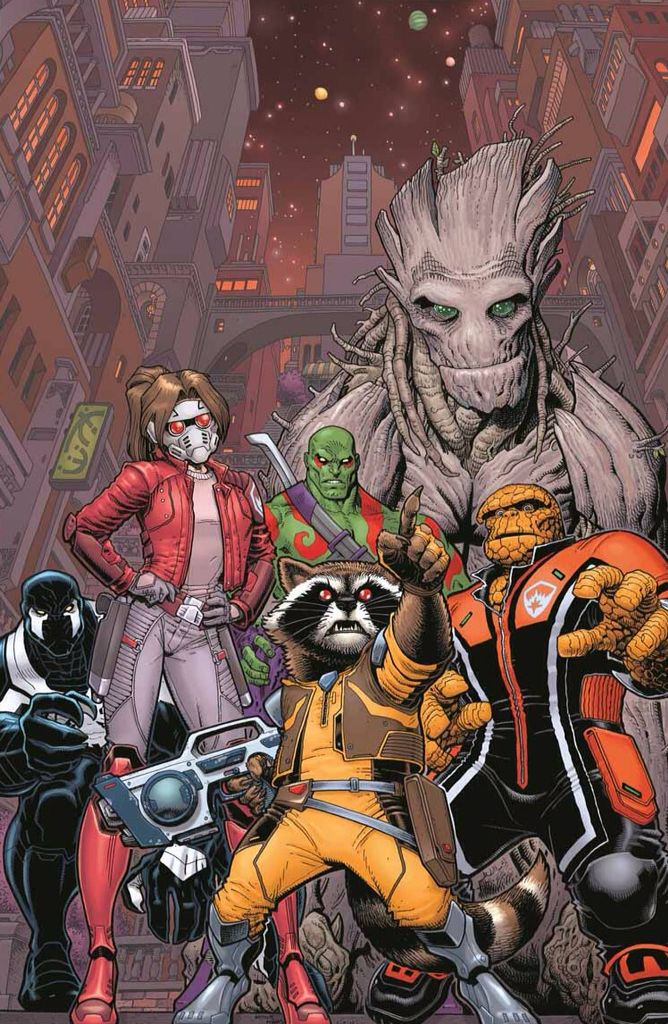 181175f07 Guardians of the galaxy the members our thing Groot rocket venom drax and  girl star lord
