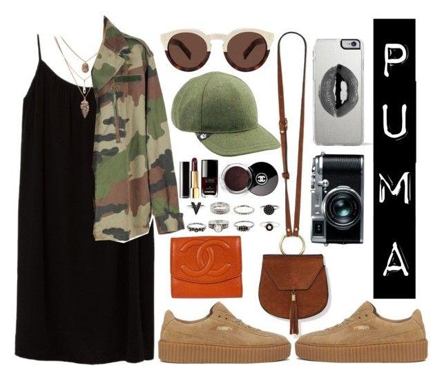 """""""PUMAS"""" by zulfastley ❤ liked on Polyvore featuring Azalea, Nila Anthony, Puma, Lipsy, Illesteva, Goorin, Chanel, Retrò, shoes and puma"""