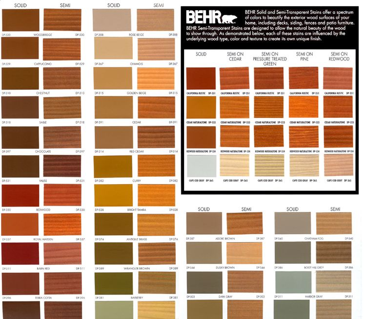 Behr Deck Stain Colors Chart Deck Stain Colors Exterior Stain