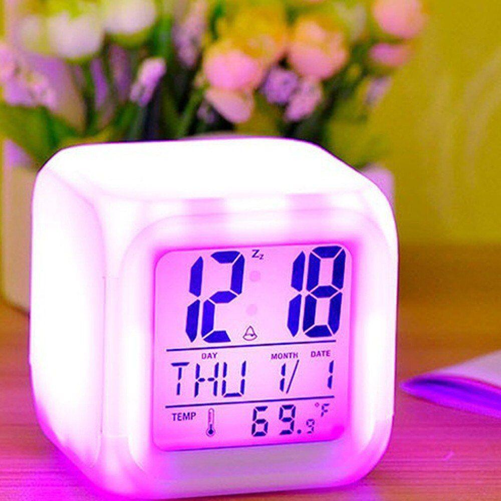 Drop Shipping 7 Colors Led Changing Digital Alarm Clock Desk