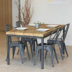 Reclaimed Timber Dining Table With Four Grey Industrial Style Chairs Set
