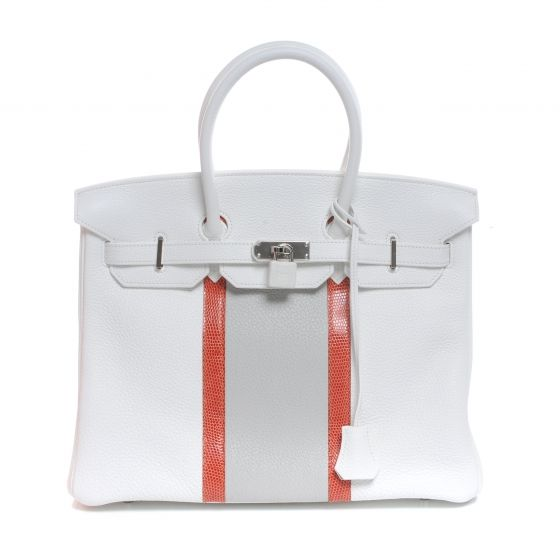 d1d6b51edf This is an authentic HERMES Taurillon Clemence and Lizard Club Birkin 35 in  Blanc NEW. This is a Limited Edition Club Birkin in the size 35 cm.