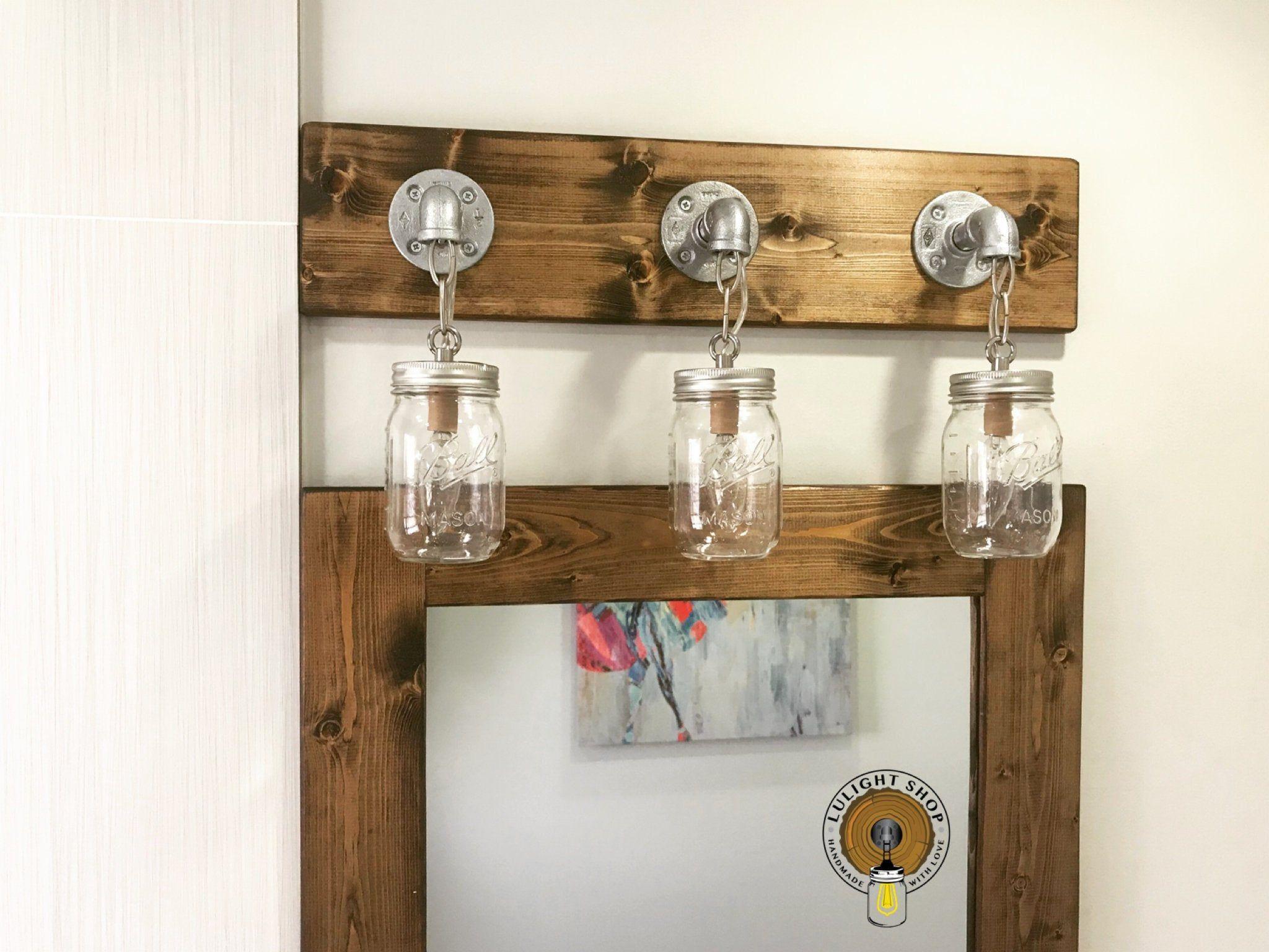 Photo of DARK WALNUT mason jar lamp, bathroom lamps, washstand lamp, wall lamp, rustic decor, bathroom decor, pendant lamp