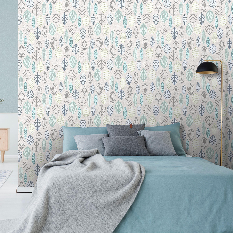 Superfresco Easy Scandi Leaf Blue Wallpaper Teenage Room Decor Bedroom Wallpaper Accent Wall Blue Wallpapers