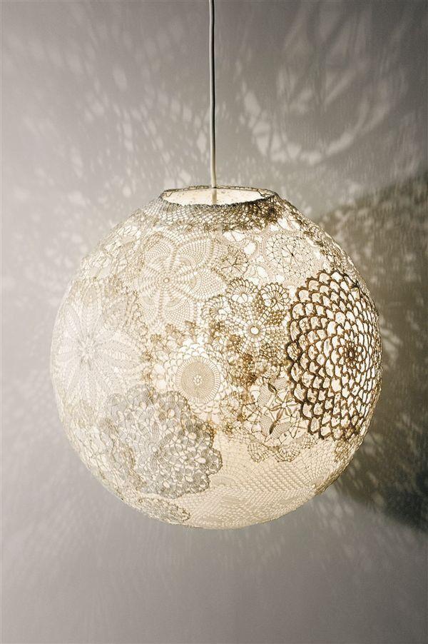 Vintage Crocheted Tablecloth Lamp Lampor Diy Ljuskrona