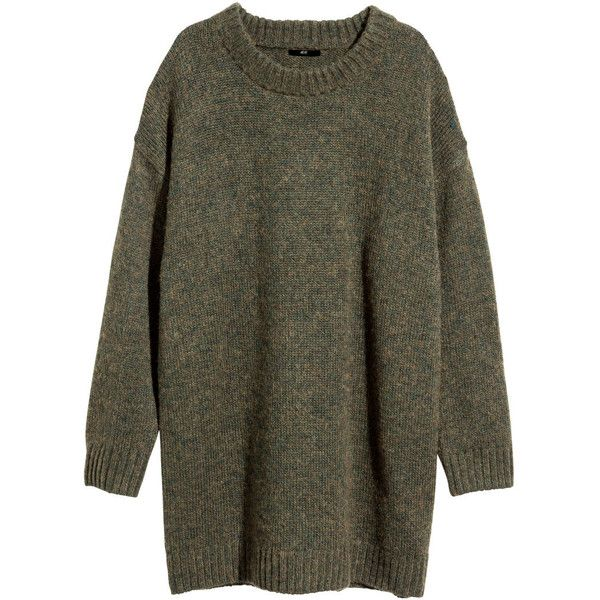 H&M Knitted jumper (€16) ❤ liked on Polyvore featuring tops, sweaters, jumpers, dresses, green marl, green sweater, h&m jumper, marled sweater, h&m sweater and jumper top
