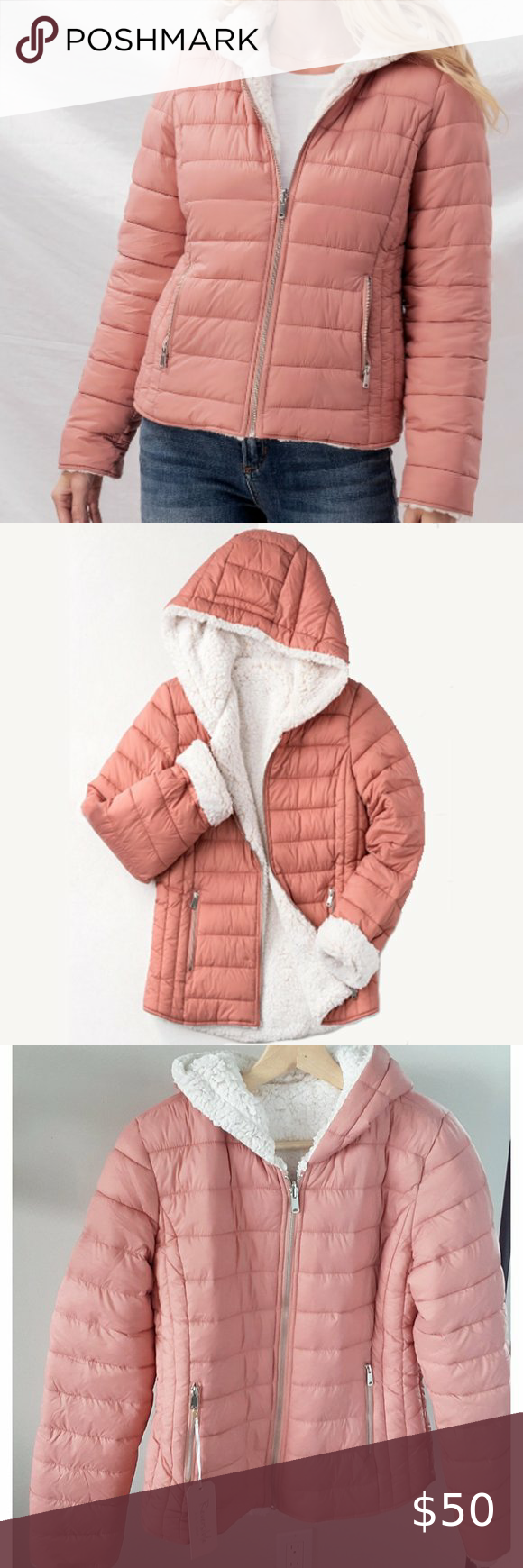 Hooded Sherpa Fleece Puffer Jacket Blush Pink Incredibly Soft And Comfortable Color Is Closer To My Photos These Do Run Fashion Clothes Design Fashion Trends [ 1740 x 580 Pixel ]