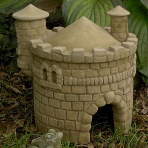 Hopsburg Castle Garden Statue is part of Fairy garden Castle - All of your lawn statue friends will fit under the Hopsburg Castle for shelter and decoration  Authentic bricks for added realism Weatherresistant for durability Cast from a rubber mold for a seamless finish Attached watchtower is reminiscent of a real castle Arched entryway looks authentic Available in your choice of finishes What We Like About The Hopsburg Castle This charming little castle features realistic detailing that make it look just like its predecessors  The Hopsburg Castle has realistic looking bricks that add to the medieval charm of the statue  The castle features an attached watchtower for added authenticity  Because the concrete material is weather resistant, the statue will retain its fine detail for years to come  (BFC11913) Size Small