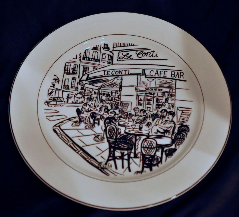"""Mikasa Parisian Scenes Dinner Plate HK114 Cafe Scenes EXC 10.75""""Ultima + - Shabby Chic! So cute! Paris cafe scene - ooh la la! SOLD!"""