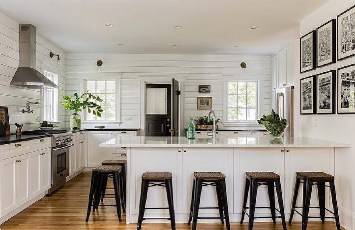 No Upper Cabinets White Cottage Kitchens Interior Design Kitchen Shiplap Kitchen