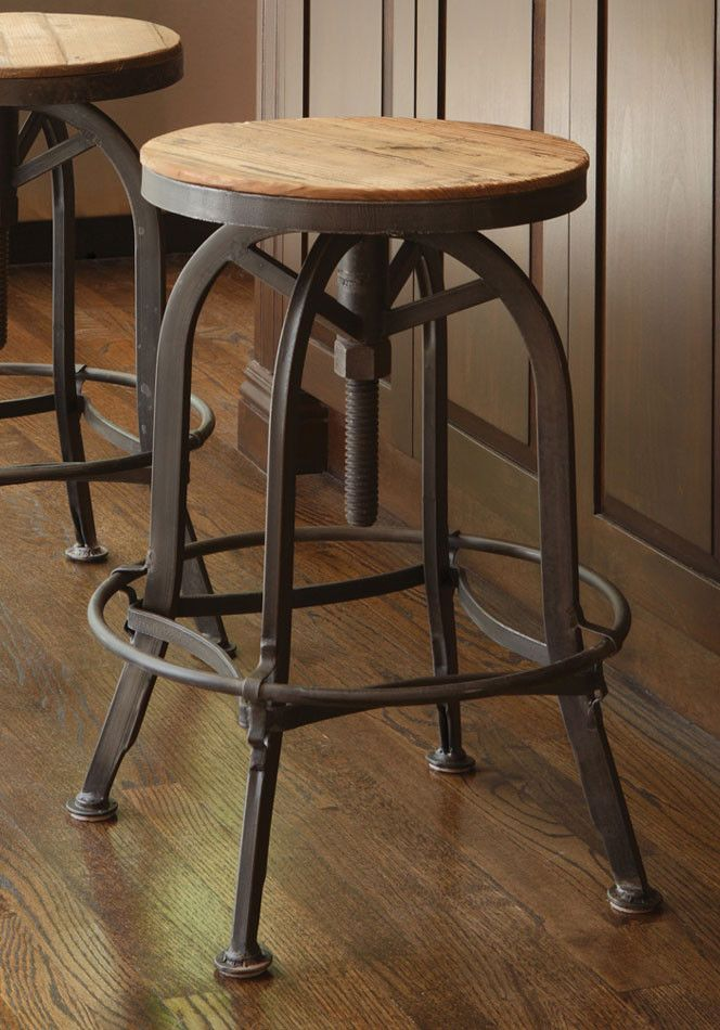 Kosas Home Akron Adjustable Height Bar Stool Swivel Bar Stools