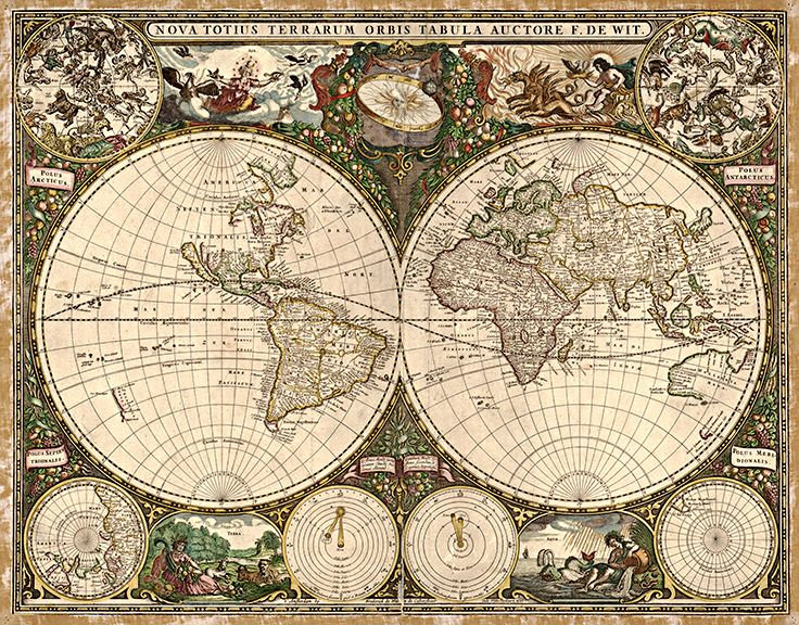 1660 Old World Antique Map World Map Tapestry Old World Maps