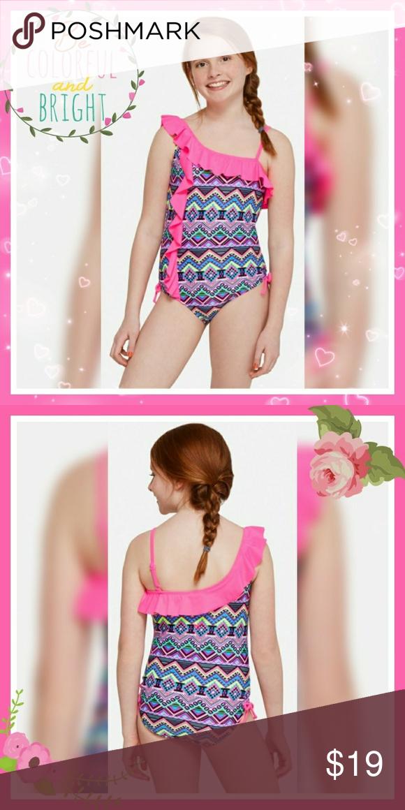 7748cde2cc Girls geometric print one piece swimsuit Super cute geometric print Pink  ruffle around the top going