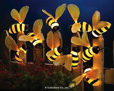 Bumblebee Fiber Optic Outdoor String Set Of 10 Lights Fence Wall Garden Decor