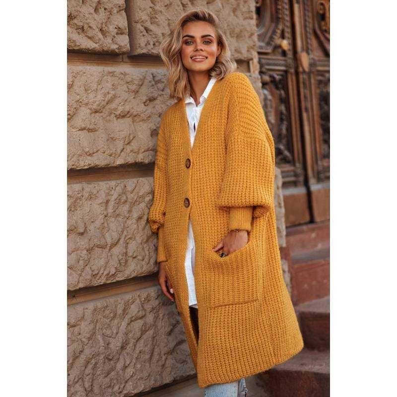 Gelbe kuschelig warme Strickjacke