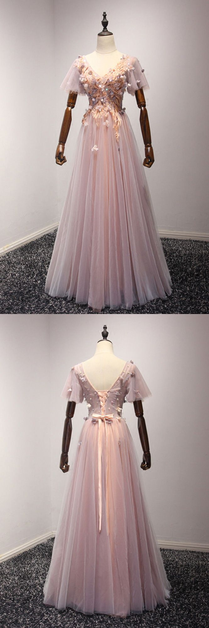 6857e22581ec8 Only $169, Outstanding Applique Pink Prom Dress Long With Short Puffy  Sleeves #AKE18055 at #SheProm. SheProm is an online store with thousands of  dresses, ...