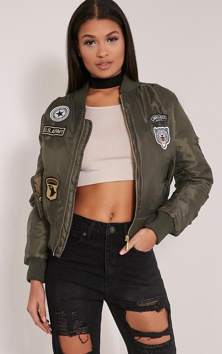 Joya Khaki Utility Badge Bomber Jacket Bomber Outfit Bomber Jacket Green Khaki Jacket [ 1180 x 740 Pixel ]