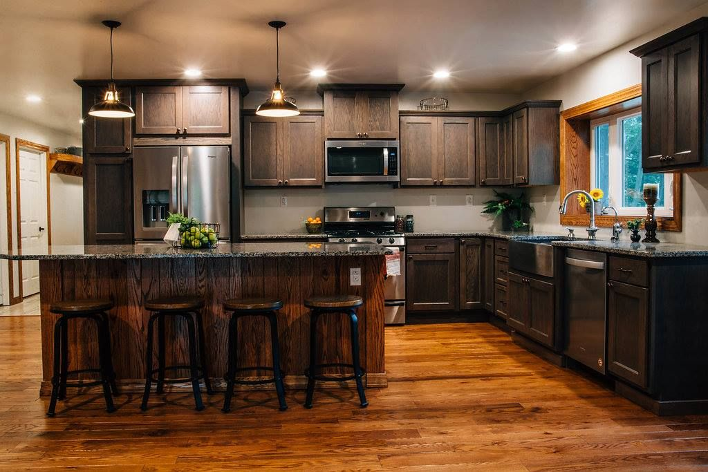 Dusk Grey cabinets with oak flooring & island   Farmhouse ...