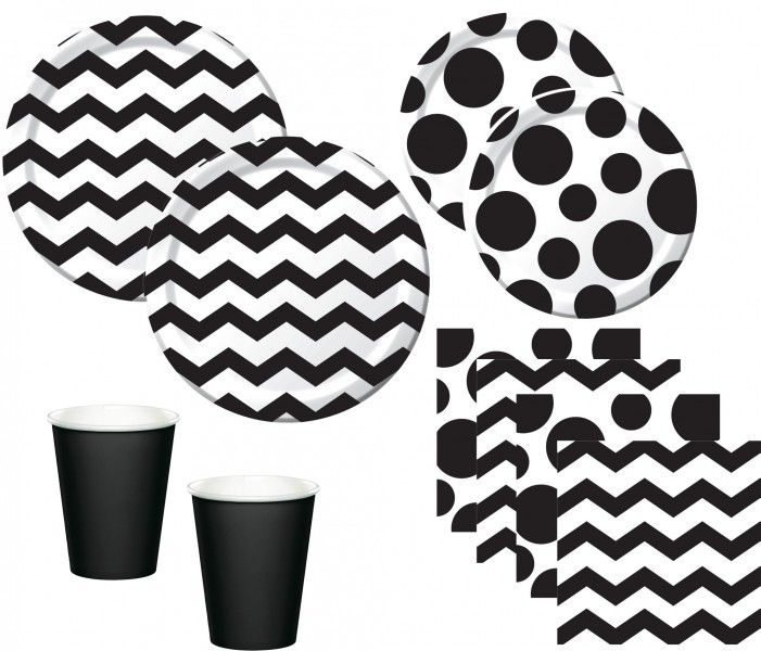 44 teile party deko set schwarz wei muster mix f r 8. Black Bedroom Furniture Sets. Home Design Ideas