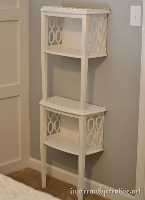 An Old End Table Was Cut In Two Painted White Then The Pieces Were Stacked To Create Additional Storage This Small Bathroom