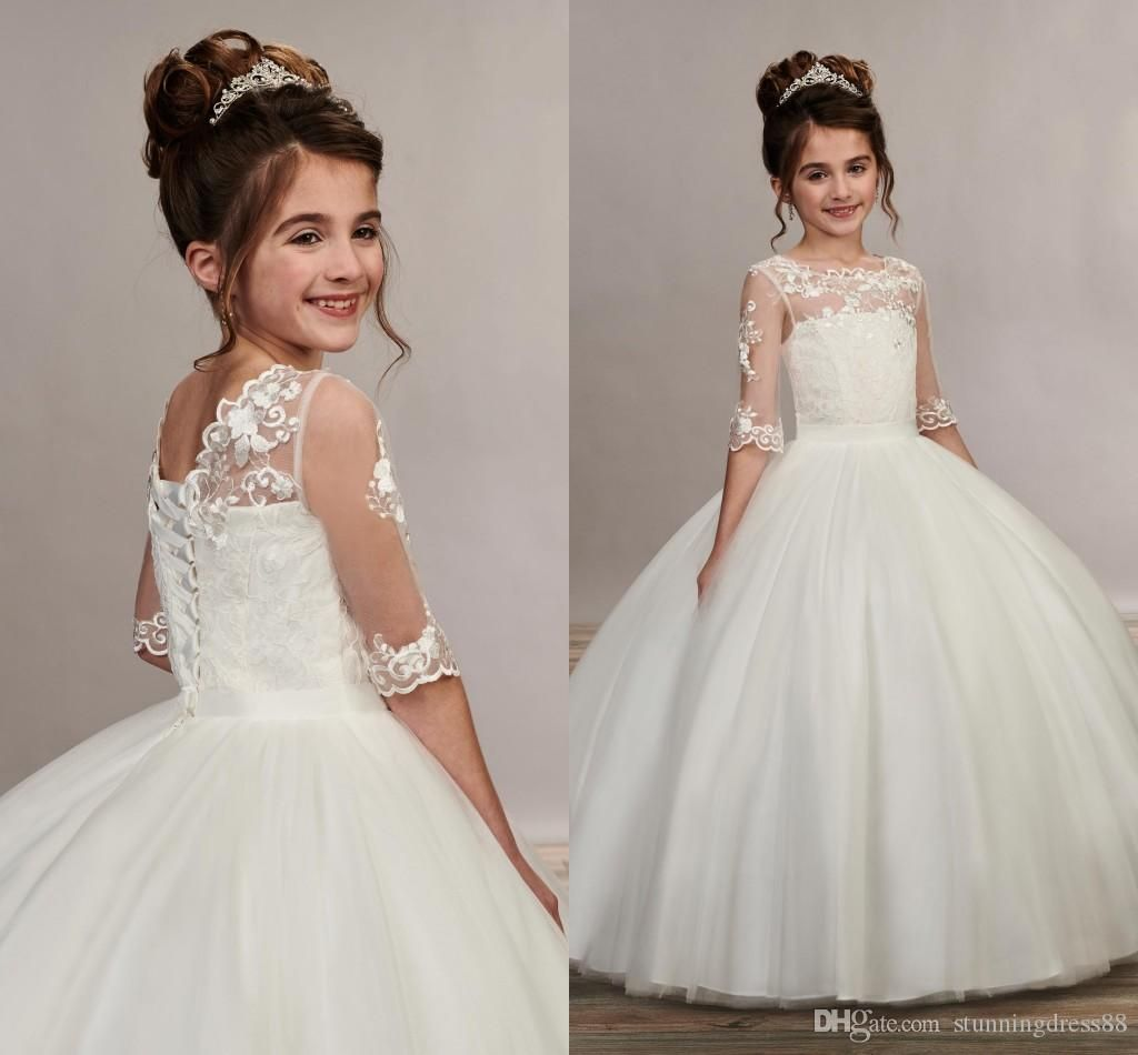 Romantic Flowers Lace Flower Girls Dresses For Wedding Guest Junior Bridesmaids Dress Ball Gown Tulle With Sleeves First Communion Dress From Stunningdress88 Girls Pageant Dresses Wedding Dresses For Kids Girls [ 950 x 1024 Pixel ]
