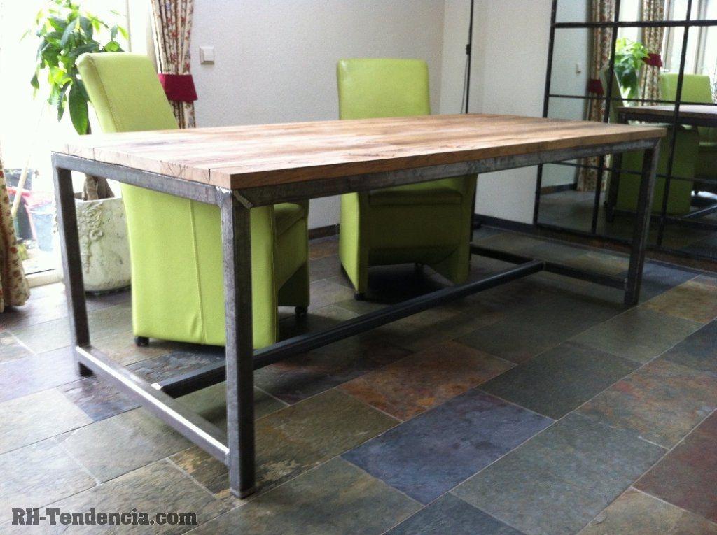 houten tafel met metalen onderstel   Google zoeken   Interieur ideetjes   Pinterest   Google