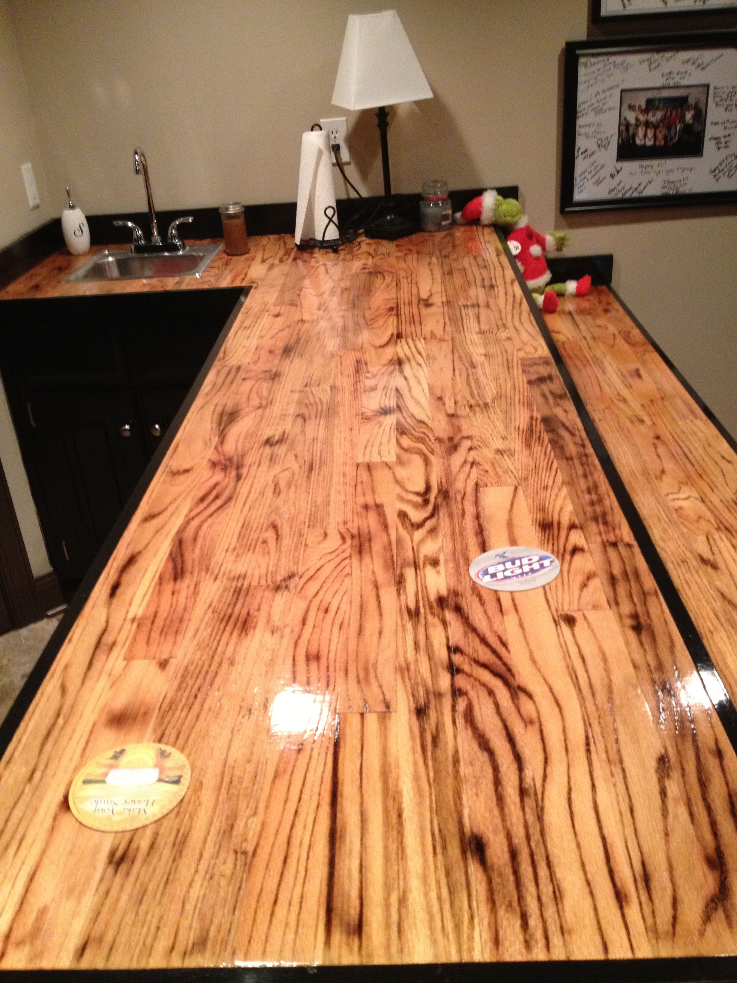 Bar Made Out Of Oak Hardwood Flooring I Torched The Wood Before Applying Clear Coat Wood Bar Top Reclaimed Wood Bars Torch Wood