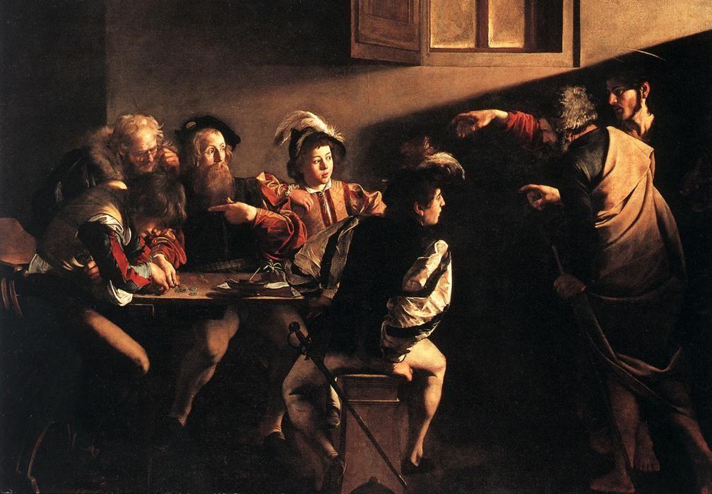 The Calling of Saint Matthew. Michelangelo Merisi da Caravaggio.  One of my favorite uses of light & shadow. :)