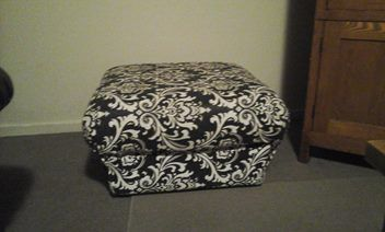 Black and White damask ottoman
