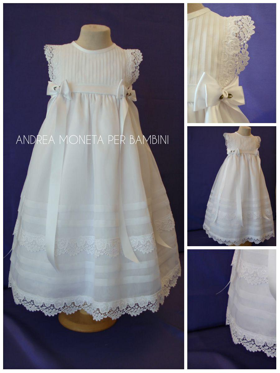 Vestido blanco largo para bautizo