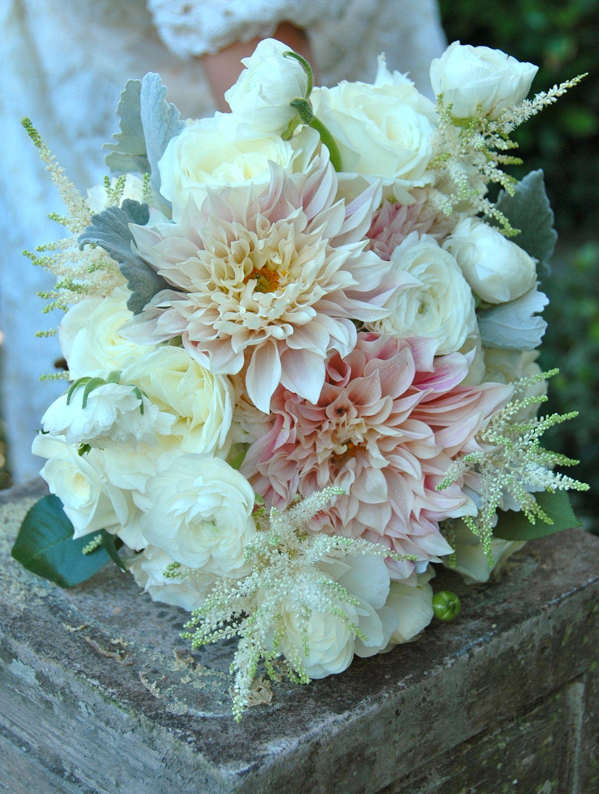 bride's bouquet of cafe au lait dahlia, white astilbe, white