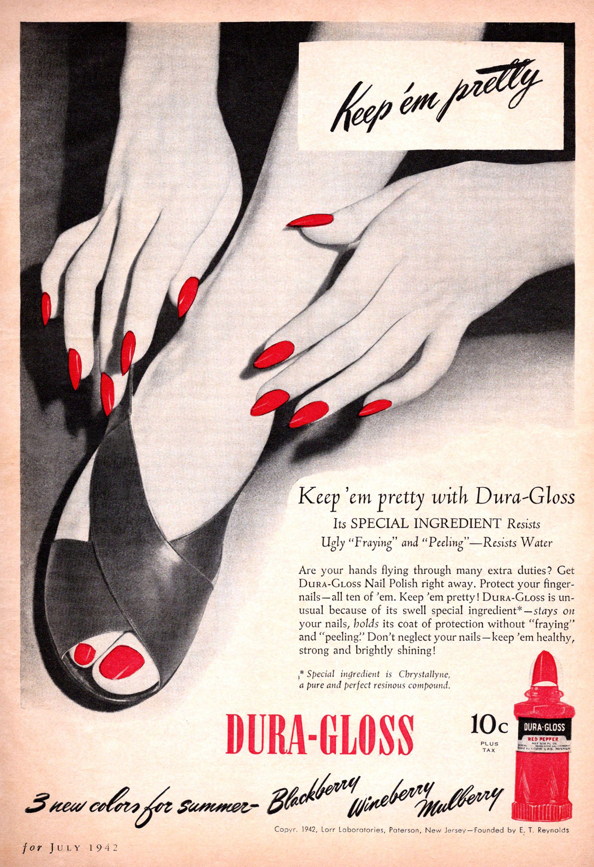 Vintage Dura-Gloss nail polish ad from July 1942 Silver Screen ...