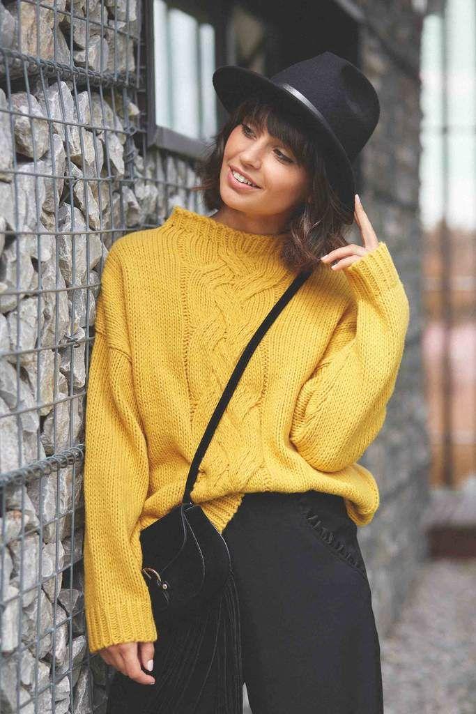 Soft Mustard High Collar Sweater