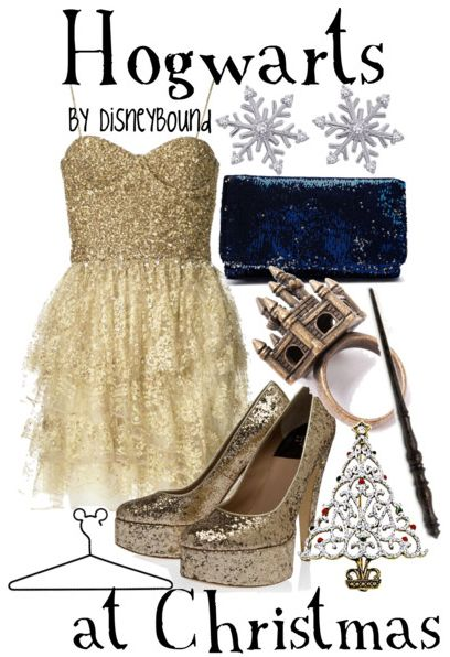 An outfit inspired by Hogwarts at Christmas time. Love <3