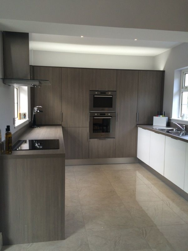 Avola Grey Mixed With White Glossy Acrylic Doors And Laminate Amusing Kitchen Design Grey Decorating Design