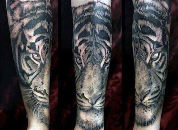 Simple Tiger Tattoo On Men Tattoos For Men Tiger Tattoo Tattoos