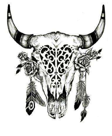Floral Bull Skull 8x10 Art Print 8x10 Print 8x10 Art Prints Art Prints Art