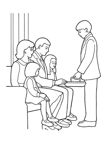 An illustration of a deacon passing the sacrament, from