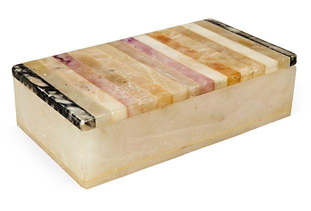 1940s Italian Striped Alabaster Box On Onekingslane Com