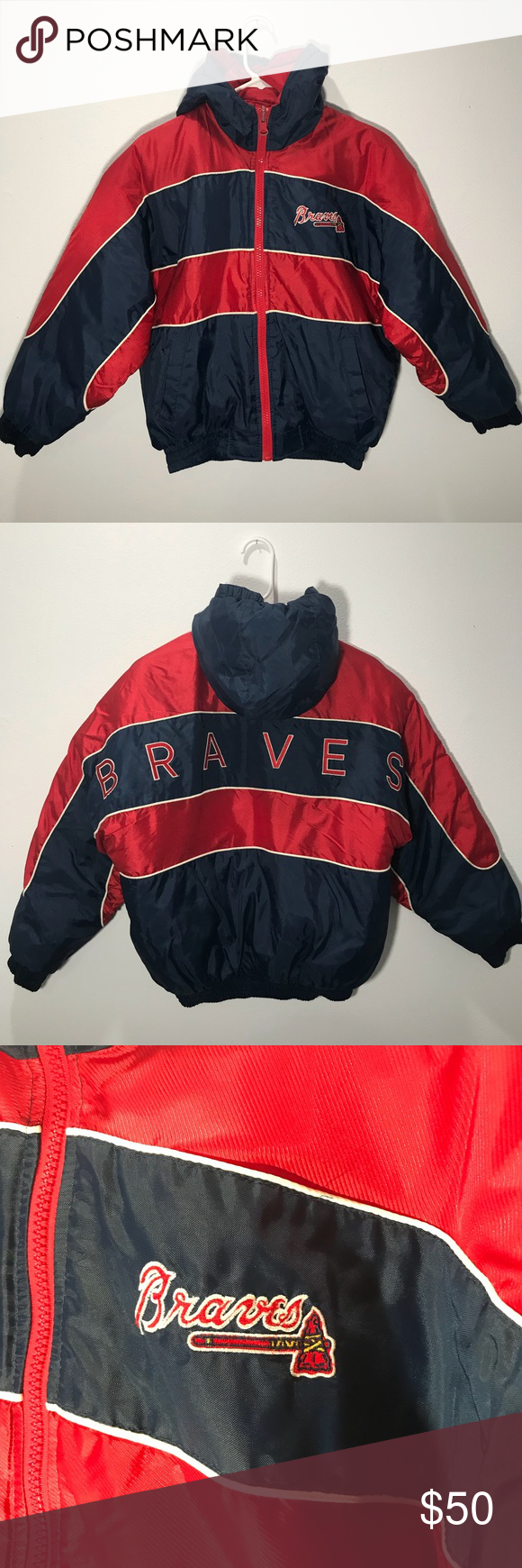 Pro Player Atlanta Braves Jacket Boy S L Women S S Brand Pro Player Genuine Merchandise Color Navy Red Condi With Images Red Jacket Outfit Jacket Brands Jacket Outfits