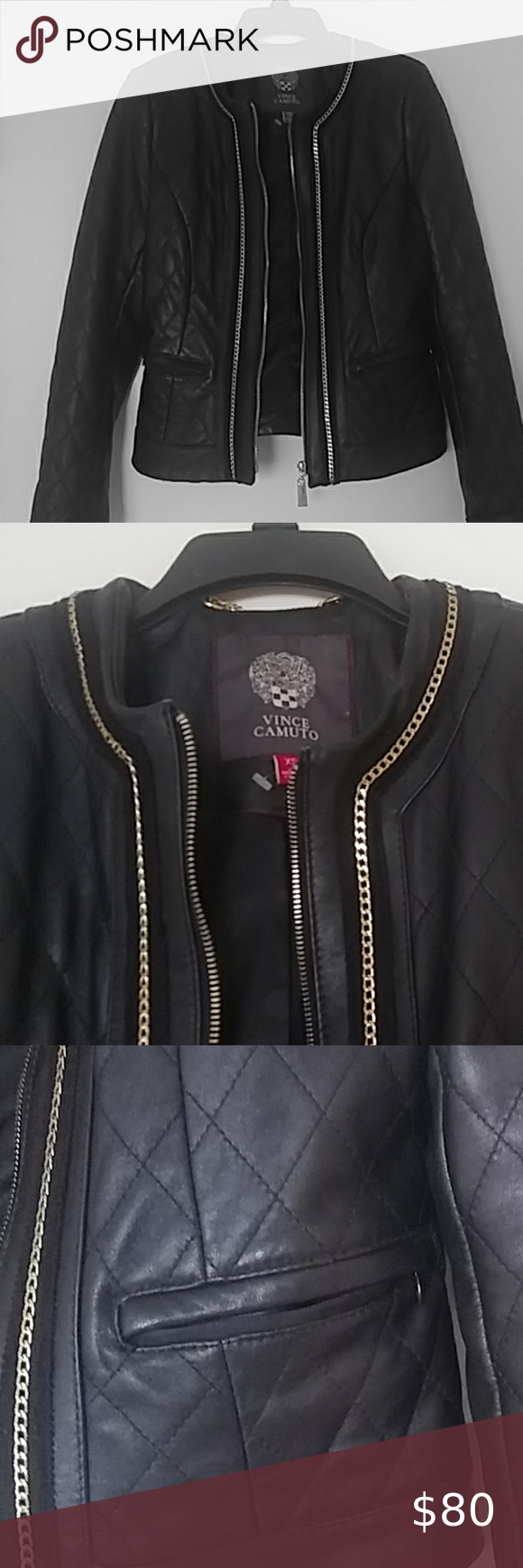 Real Leather Jacket Bomber Style Leather Jacket Has Gold Chain Lining The Zipper Collar Quilted Pa Real Leather Jacket Leather Jacket Leather Bomber Jacket [ 1740 x 580 Pixel ]