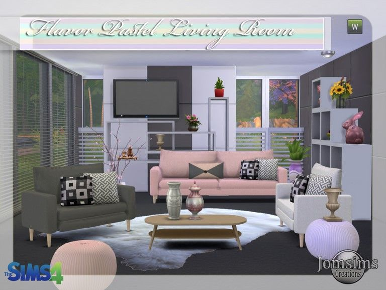 sims room 4 jomsimscreations New living room sims 4 flavor pastel ...
