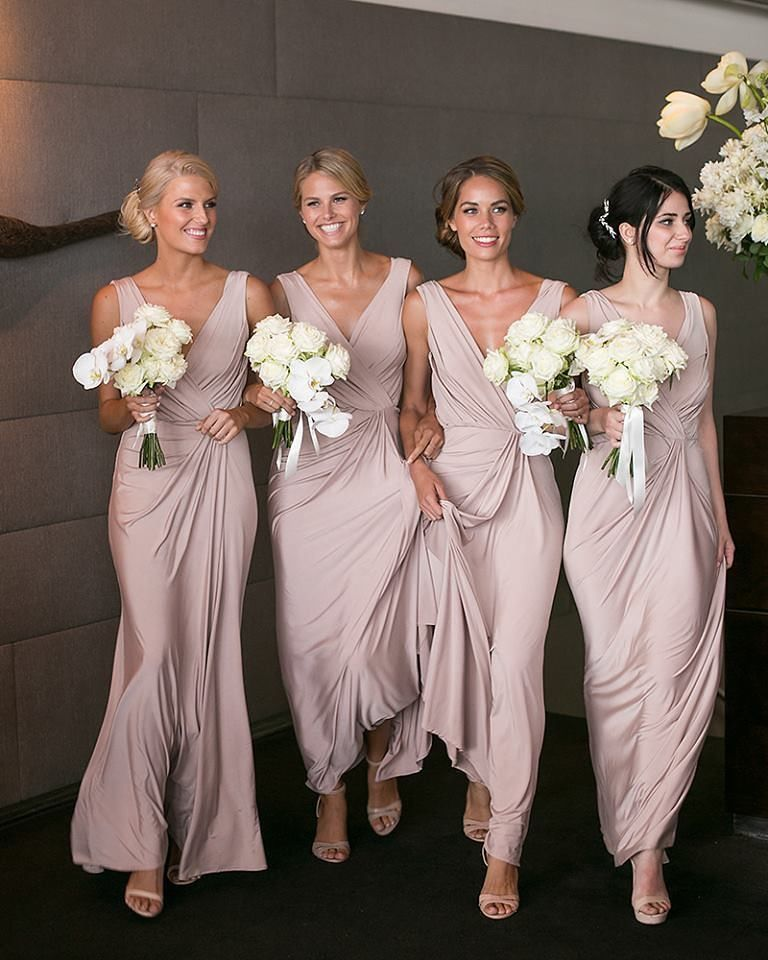 Pink Satin Deep V-Neck Sheath Floor-Length Bridesmaid Dress 486f0d37d