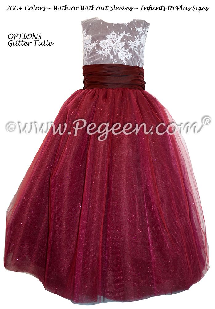 Beautiful Cranberry Red Flower Girl Dress With Ruffle Hem ...